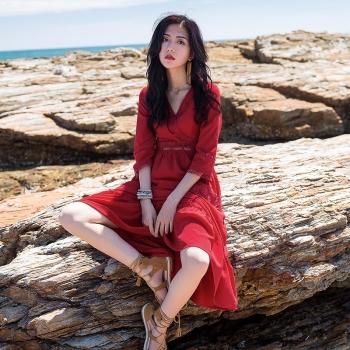 雪纺连衣裙2015夏季短袖印花波西米亚长裙女装修身中长款沙滩裙潮